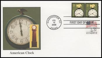 3763 / 10c American Clock Coil Pair Fleetwood 2008 FDC