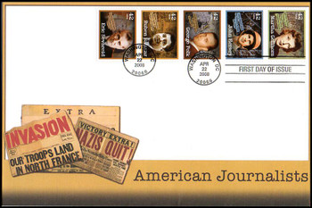 4248 - 4252 / 42c American Journalists Se-Tenant Strip of 5 Oversized Large Format Fleetwood 2008 FDC