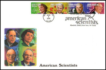 4227a / 42c American Scientist Se-Tenant Strip of 4 Oversized Large Format Fleetwood 2008 FDC