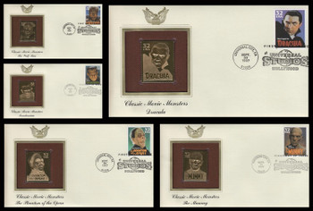 3168 - 3172 / 32c Classic Movie Monsters Set of 5 Gold Replica 1997 Postal Commemorative Society FDCs with info cards