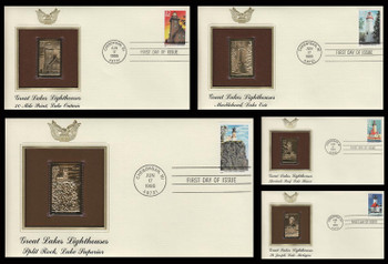 2969 - 2973 / 32c Great Lakes Lighthouses Set of 5 Gold Replica 1995 Postal Commemorative Society FDCs with info cards