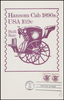 1904 / 10.9c Hansom Cab : Transportation Series 1982 Andrews Cachet Maxi Card FDC
