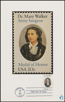 2013 / 20c Dr. Mary Walker : Army Surgeon : Medal Of Honor 1982 Andrews Cachet Maxi Card FDC