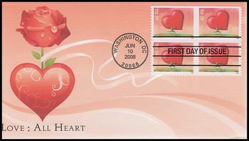 4270 / 42c Love : All Heart : Love Series Block Of 4 Fleetwood 2008 FDC