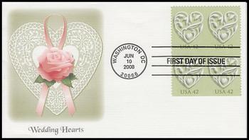 4271 / 42c Wedding Hearts Block of 4 Fleetwood 2008 FDC