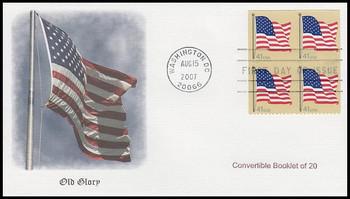 4191 / 41c US Flag Convertible Bklt of 20 Block Fleetwood 2007 FDC