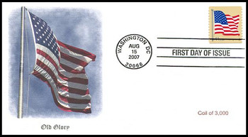 4189 / 41c US Flag Single from Coil of 3,000 Fleetwood 2007 FDC