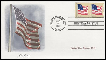 4187 / 41c US Flag Pair from Coil of 100, Die-Cut 10.9 Fleetwood 2007 FDC