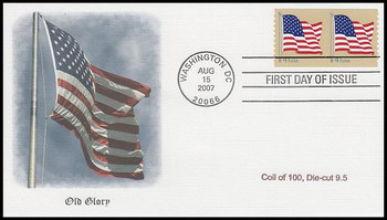 4186 / 41c US Flag Pair from Coil of 100, Die-Cut 9.5 Fleetwood 2007 FDC