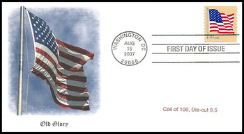 4186 / 41c US Flag Single from Coil of 100, Die-Cut 9.5 Fleetwood 2007 FDC
