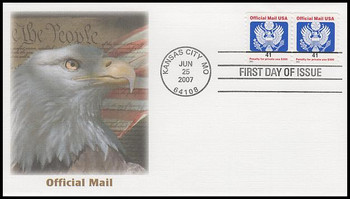 O162 / 41c Eagle Official Mail Coil Pair Fleetwood 2007 FDC