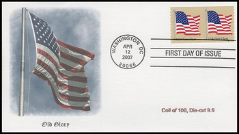 4132 / 41c Non-Denominated US Flag Coil Pair Fleetwood 2007 FDC
