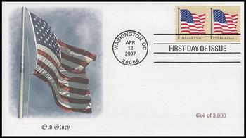 4131 / 41c Non-Denominated US Flag Coil Pair Fleetwood 2007 FDC