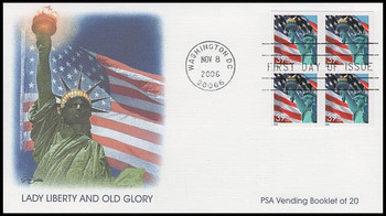 3985c / 39c Statue of Liberty and Flag Pane of 4 Fleetwood 2006 FDC