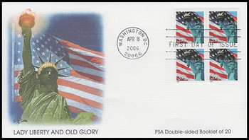 3985a / 39c Statue of Liberty and Flag Pane of 4 Fleetwood 2006 FDC