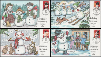 3676 - 3679 / 37c Snowmen PSA Set of 4 Collins Hand Painted 2002 First Day Covers