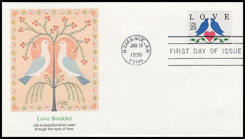 2441 / 25c Lovebirds and Heart Booklet Single Love Series 1990 Fleetwood First Day Cover
