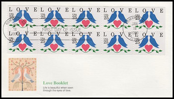 2441a / 25c Lovebirds and Heart Booklet Pane of 10 : Love Series 1990 Fleetwood FDC