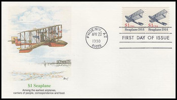 2468 / $1 Seaplane Coil Pair : Transportation Series 1990 Fleetwood First Day Cover