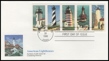 2474a / 25c Lighthouses Se-Tenant Booklet Strip of 5 Fleetwood 1990 First Day Cover