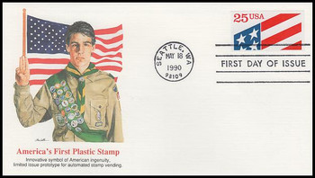 2475 / 25c Plastic Flag PSA : America's First Plastic Stamp 1990 Fleetwood First Day Cover