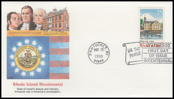2348 / 25c Rhode Island : Bicentennial Series 1990 Fleetwood First Day Cover