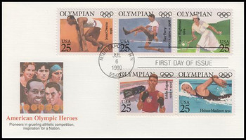 2500a / 25c Olympians Se-Tenant Strip of 3 and 2 Fleetwood 1990 First Day Cover