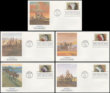 2501 - 2505 / 25c Indian Headdresses Set of 5 Fleetwood 1990 First Day Covers