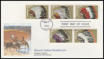 2505a / 25c Indian Headdresses Se-Tenant Strip of 3 and 2 Fleetwood 1990 First Day Cover
