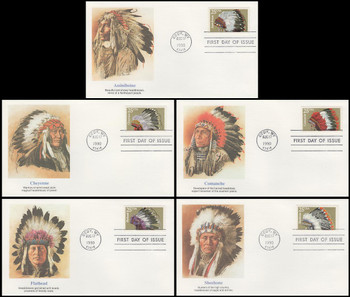 2501 - 2505 / 25c Indian Headdresses Artwork By Chris Calle Set of 5 Fleetwood 1990 FDCs
