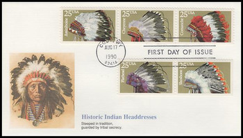 2505a / 25c Indian Headdresses Artwork By Chris Calle Se-Tenant Strip of 3 and 2 Fleetwood 1990 FDC