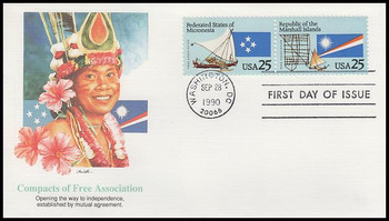 2507a / 25c Federated States of Micronesia and Marshall Islands Se-Tenant Pair Fleetwood 1990 FDC