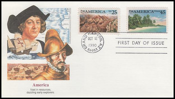 2512 and C127 / 25c Grand Canyon and 45c Tropical Coast Airmail : Americas Series Combo 1990 Fleetwood First Day Cover