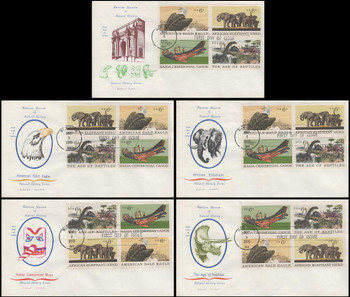 1390a / 6c  Natural History Se-Tenant Block Set of 5 Colonial Cachets 1970 FDCs