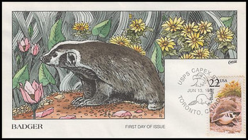 2312 / 22c Badger 1987 Collins Hand-Painted First Day Cover