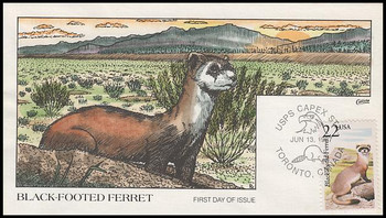 2333 / 22c Black-Footed Ferret 1987 Collins Hand-Painted First Day Cover