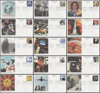 3189a-o / 33c Celebrate The Century ( CTC ) 1970s Set of 15 Mystic First Day Covers