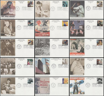 3186a-o / 33c Celebrate The Century (CTC) 1940s Set of 15 Mystic First Day Covers