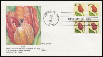 2525 / 29c Tulip Coil Pair Combo Gill Craft 1991 First Day Cover