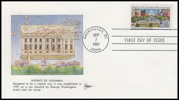 2561 / 29c District of Columbia : Hand Cancel Gill Craft 1991 First Day Cover