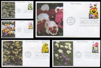 3025 - 3029 / 32c Winter Garden Flowers Set of 5 Mystic 1996 FDCs