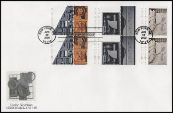 3383a / 33c Louise Nevelson : Sculptor Block of 10 Oversized Large Format Fleetwood 2000 FDC