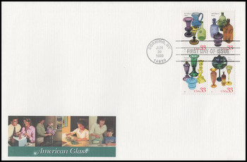 3328a / 33c American Glass Se-Tenant Block of 4 Oversized Large Format Fleetwood 1999 FDC