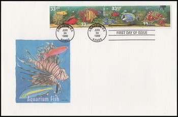 3320b / 33c Aquarium Fish Strip of 4 Oversized Large Format Fleetwood 1999 FDC