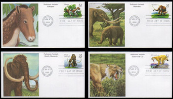 3077 - 3080 / 32c Prehistoric Animals Set of 4 Mystic 1996 First Day Covers