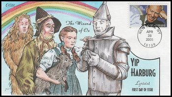 3905 / 37c Yip Harburg : The Wizard of Oz 2005 Collins Hand-Painted FDC