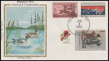 RW50 / $7.50 Pintails Combo Colorano Silk 1983 First Day Cover