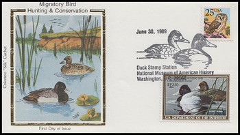RW56 / $12.50 Lesser Scaups Combo Colorano Silk 1989 First Day Cover