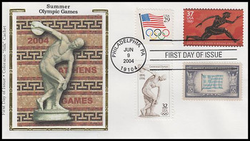 3863 / 37c Summer Olympics 2004 Combo Colorano Silk First Day Cover