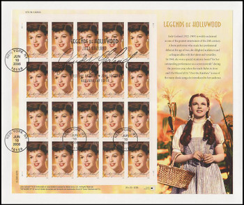 4077 / 39c Judy Garland : Wizard of OZ : Legends of Hollywood Series Pane of 20 USPS Uncacheted 2006 FDC